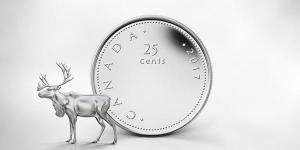 Монета 25 канадских центов 2017