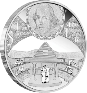 450-летие Уильяма Шекспира Серебряная монета 2014 Пертский монетный двор 5 унций серебро 999 Тувалу