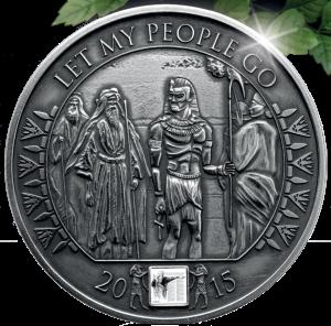 """Серебряная монета с нано чипом """"Моисей: Отпусти народ Мой!"""" 2015 Буркина Фасо 1000 франков"""