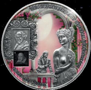 Серебряная монета с нано чипом Ромео и Джульетта Шекспир 2014 Бенин