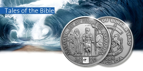Серебряная монета с нано чипом с фрагментом Библии Книга Исход Вторая Книга Моисея