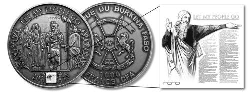 Монета Моисей Let My People Go 2015 Буркина Фасо 1000 франков 2015