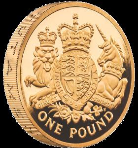 Золотая монета 1 фунт 2015 Королевский герб Тимоти Ноад