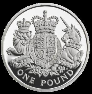Серебряная монета 1 фунт 2015 Королевский герб реверс