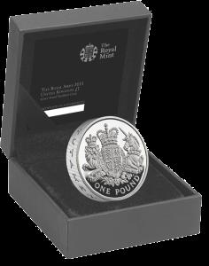 Серебряная монета пидфорт 1 фунт 2015 Королевский герб в футляре