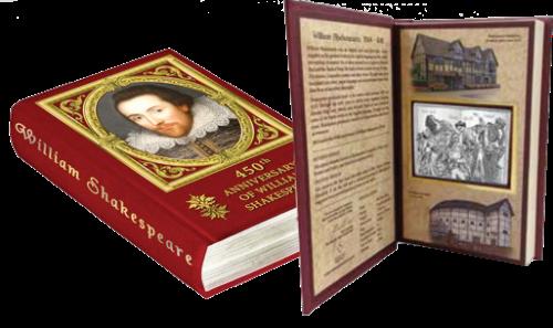 Серебряная монета Шекспир 2 доллара Ниуе в футляре-книге Монетный двор Новой Зеландии 2014