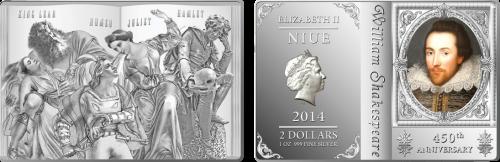 Серебряная монета Шекспир 2 доллара Ниуе Монетный двор Новой Зеландии 2014