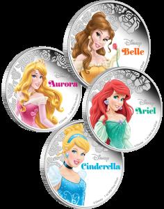 Золушка, Ариэль, Бэлль,  Аврора принцессы Диснея меребряные монеты