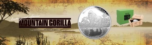 """Серебряная монета """"Горная горилла"""" 2 доллара 2015 Монетный двор Новой Зеландии"""