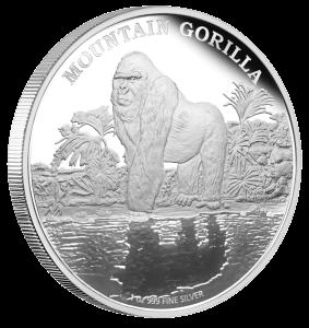 """Серебряная монета """"Горная горилла"""" 2 доллара Ниуе 2015 реверс"""