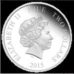 Серебряная монета 2 доллара .ниуе 2015 аверс
