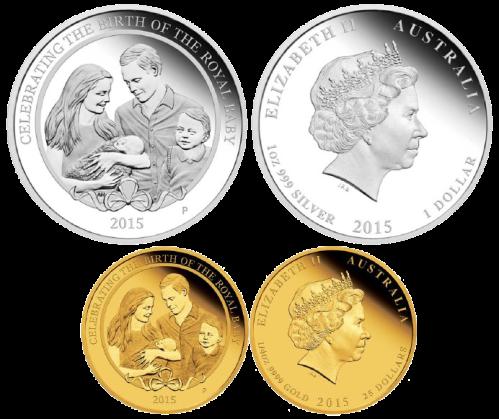 Золотая и серебряная монеты Австралии к рождению принцессы Кембриджской 2015