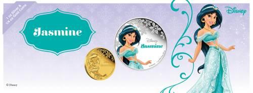 Серебряная монета Принцесса Жасмин серии Принцессы Диснея  2015 Монетный двор НОвой Зеландии