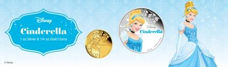 Золушка принцесса Диснея серебряная монета 2015