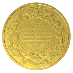 Золотая монета Крещение принцессы Шарлотты 2015 Royal Mint