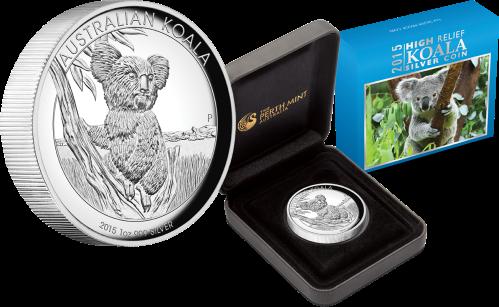 Серебряная монета с высоким рельефом Коала 2015 Пертский монетный двор