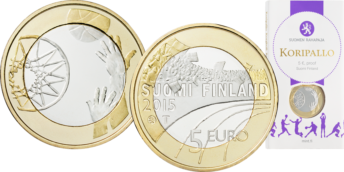 Монета Баскетбол 2015 Финляндия 5 евро