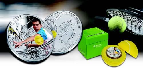 Серебряная монета Теннис Ежи Янович 2014 Монетный двор Польши 1 доллар Ниуэ