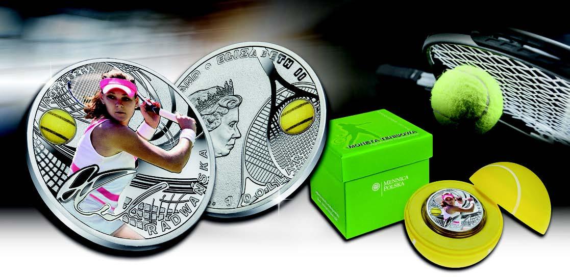 Серебряная монета Теннис Агнешка Радваньска 2015 Монетный двор Польши 1 доллар Ниуэ