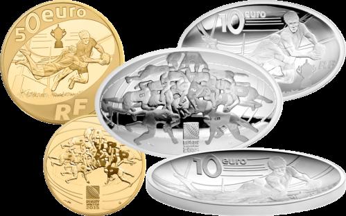 Чемпионат мира по регби 2015 золотые и серебряные монеты Франции