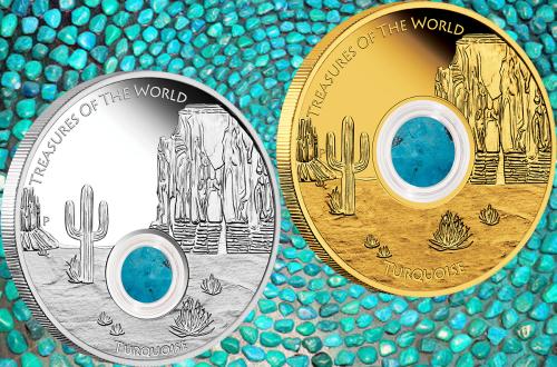 """Серебряная и золотая монеты """"Бирюза Северной Америки"""" 2015 Пертский монетный двор"""