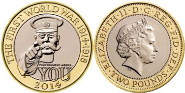 монета о первой мировой войне, монета Великобритании
