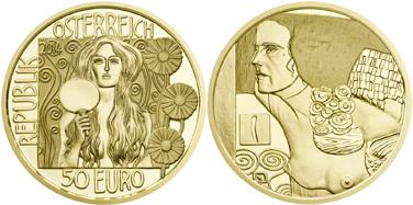 монета Климт, золотая монета Австрии