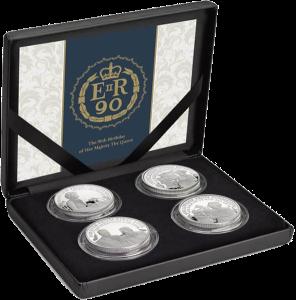 Набор 4 серебряные монеты к 90-летию Елизаветы II