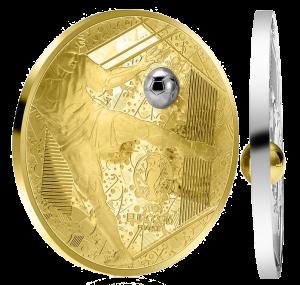 Золотая и серебряная монеты со вставкой-мячом ЕВРО 2016 Франция