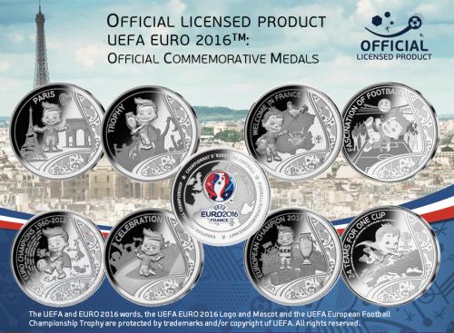 Набор из 8 медалей ЕВРО 2016