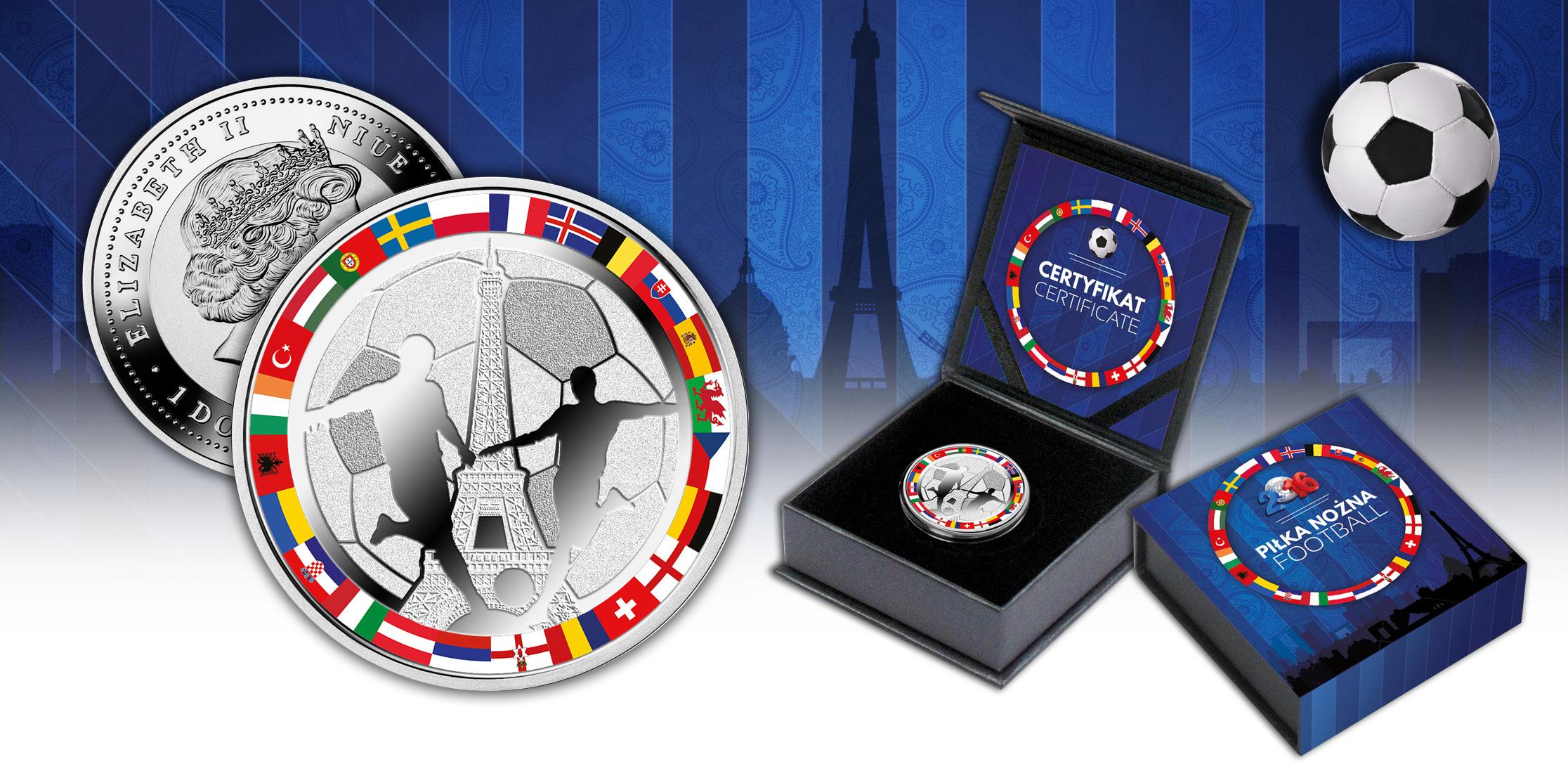 Soccer_Coin_2016_1$ Silver Coin in Case