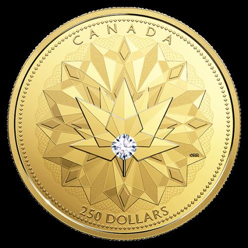 Золотая монета с бриллиантом к 150-летию Канады