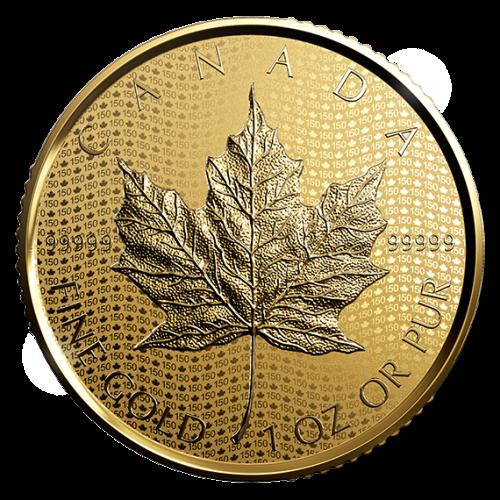 1oz золотая монета Кленовый лист к 150-летию Канады
