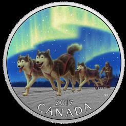 Собаки хаски в упряжке под северным сиянием