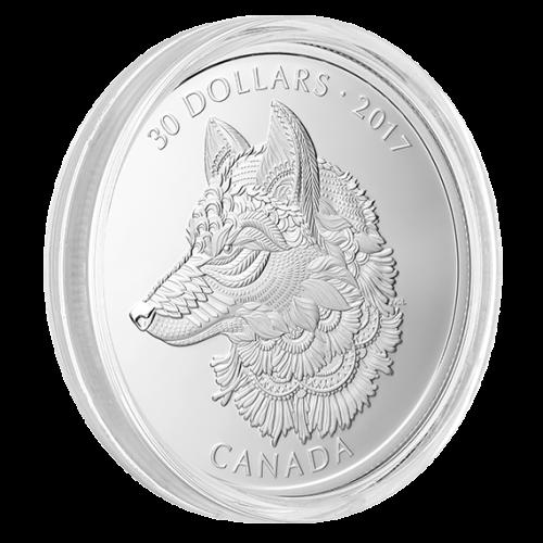 """Серебряная монета """"Серый волк"""" Королевский монетный двор Канады 2017"""