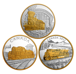Locomotives Across Canada - 1 oz Pure Silver Gold-Plated 3 Coins