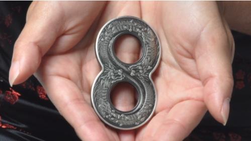 Монета-восьмёрка с драконами - талисман