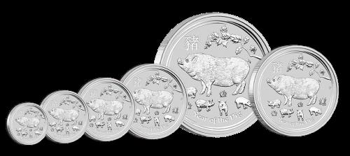Серебряные монеты 2019 Год Свиньи Lunar II Bullion