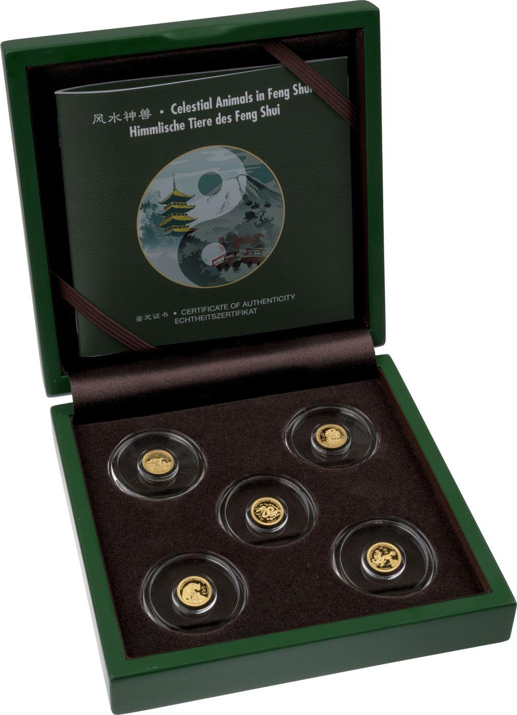 Набор 5 золотых монет Небесные животные фен-шуй