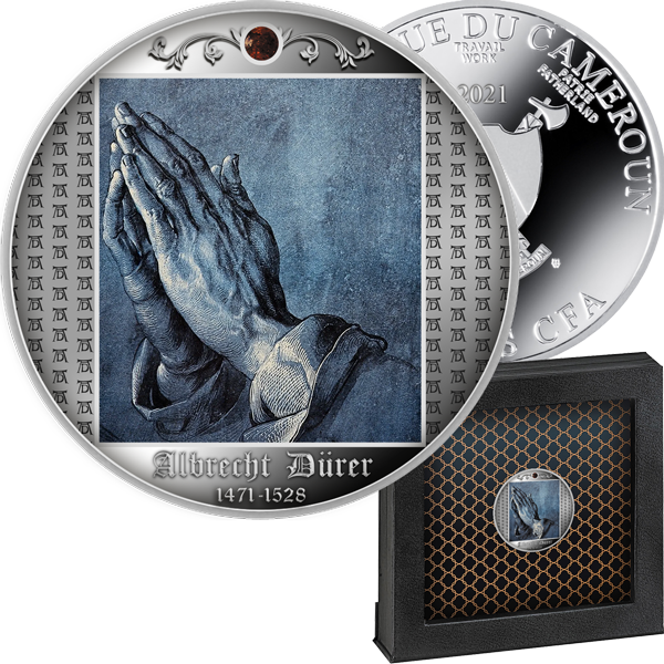 "Серебряная монета ""Руки молящегося"" с инкрустацией янтарём"